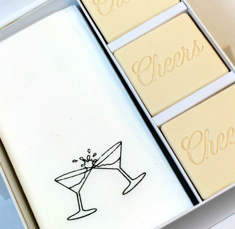 Cheers Personalized Scented Guest Soap & Hand Towel Holiday Gift Set