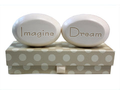 Personalized Scented Soap Bar Engraved with Imagine & Dream Scented Soap Bar - Duo Bar Box