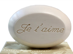 Personalized Scented Soap Bar Engraved with Je t'aime Scented Soap Bar - Single Bar Box