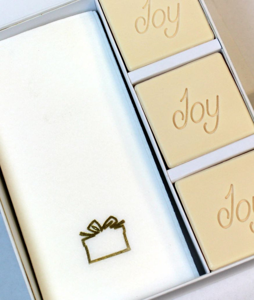 Joy Personalized Scented Guest Soap & Hand Towel Holiday Gift Set