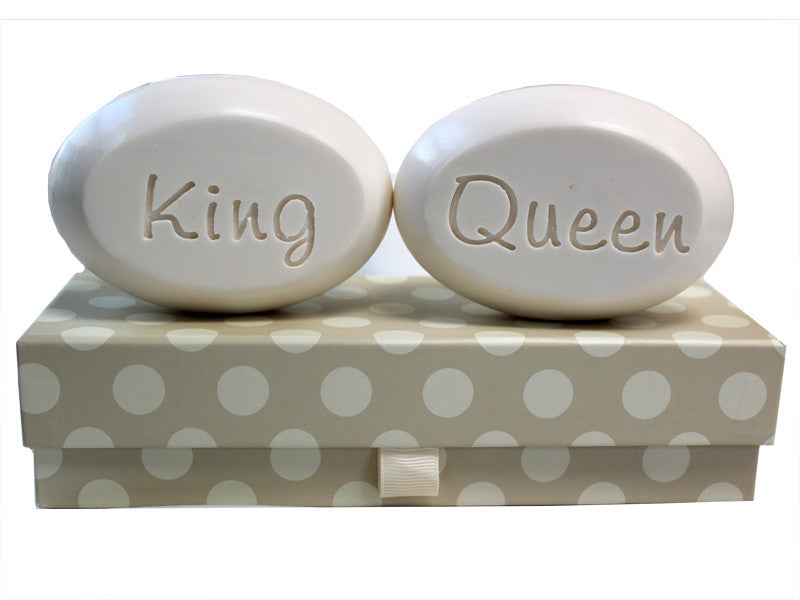 Personalized Scented Soap Bar Engraved with King & Queen Scented Soap Bar - Duo Bar Box