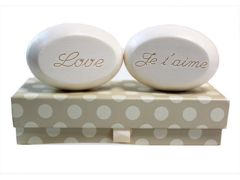 Personalized Scented Soap Bar Engraved with Love & Je t'aime Scented Soap Bar - Duo Bar Box
