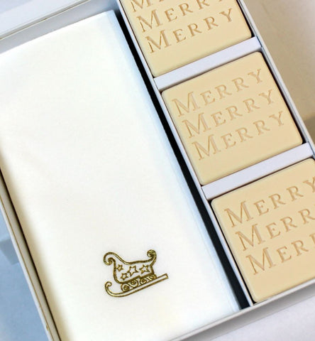 Merry Merry Merry Personalized Scented Guest Soap & Hand Towel Holiday Gift Set