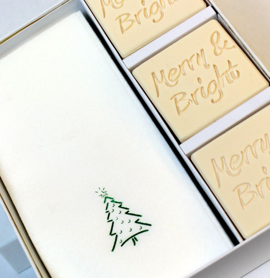 Merry & Bright Personalized Scented Guest Soap & Hand Towel Holiday Gift Set