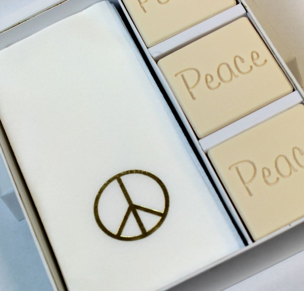 Peace Personalized Scented Guest Soap & Hand Towel Holiday Gift Set