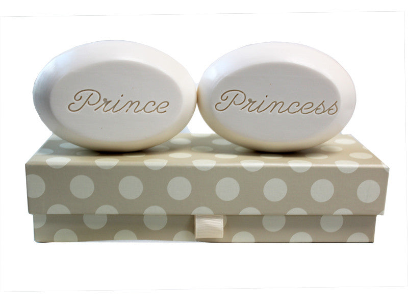 Personalized Scented Soap Bar Engraved with Prince & Princess Scented Soap Bar - Duo Bar Box