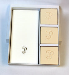 Personalized Scented Square Guest Soap & Hand Towel Courtesy Gift Set Embossed with an Initial