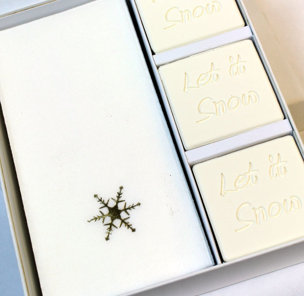 Let it Snow Personalized Scented Guest Soap & Hand Towel Holiday Gift Set