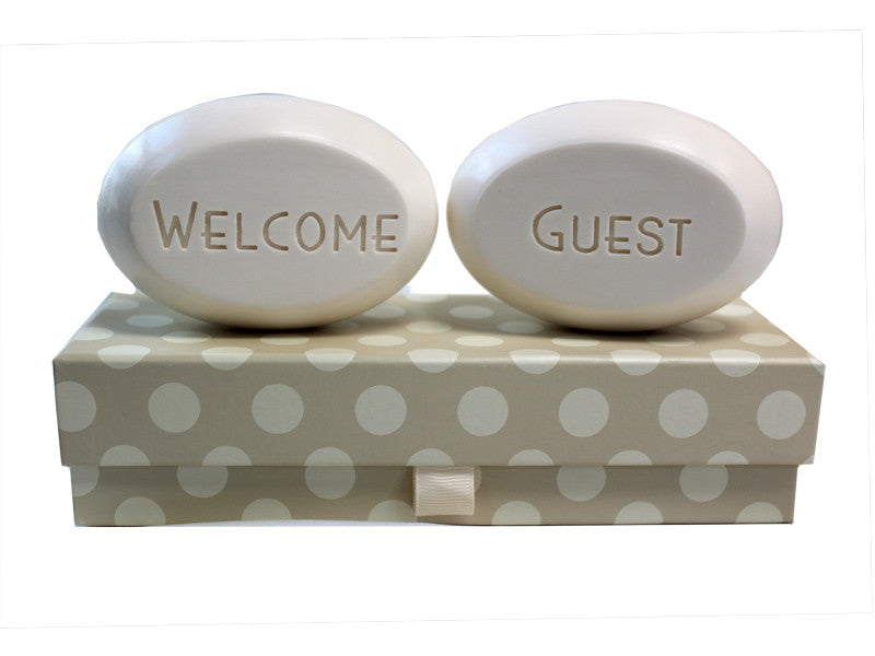Personalized Scented Soap Bar Engraved with Welcome Guest Scented Soap Bar - Duo Bar Box