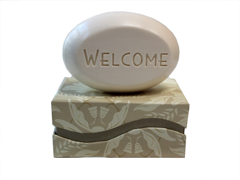 Personalized Scented Soap Bar Engraved with Welcome Scented Soap Bar - Single Bar Box