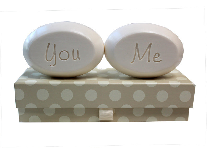 Personalized Scented Soap Bar Engraved with You & Me Scented Soap Bar - Duo Bar Box