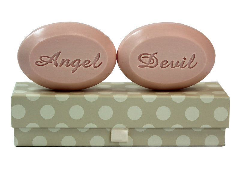 Personalized Scented Soap Bar Engraved with Angel & Devil Scented Soap Bar - Duo Bar Box