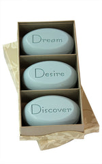 Personalized Scented Soap Bar Engraved with Dream Desire Discover. Scented Soap Bar - Trio Bar Box