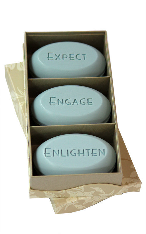 Personalized Scented Soap Bar Engraved with Expect Engage Englighten. Scented Soap Bar - Trio Bar Box