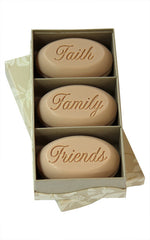 Personalized Scented Soap Bar Engraved with Faith Family Friends. Scented Soap Bar - Trio Bar Box