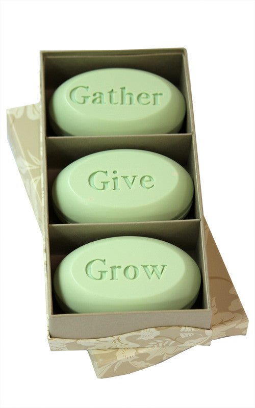 Personalized Scented Soap Bar Engraved with Gather Give Grow. Scented Soap Bar - Trio Bar Box