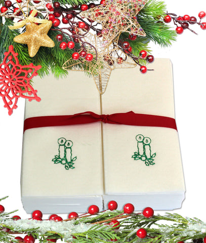 Nature's Linen Disposable Guest Hand Towels Wrapped with a Ribbon 50ct - Christmas / Holiday Collection Embossed with Candles