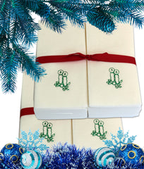 Nature's Linen Disposable Guest Hand Towels Wrapped with a Ribbon 100ct - Christmas / Holiday Collection Embossed with Candles
