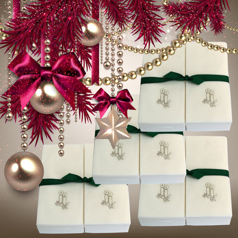 Nature's Linen Disposable Guest Hand Towels Wrapped with a Ribbon 200ct - Christmas / Holiday Collection Embossed with Candles