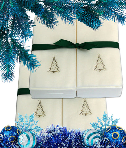Nature's Linen Disposable Guest Hand Towels Wrapped with a Ribbon 100ct - Christmas / Holiday Collection Embossed with a Christmas Tree