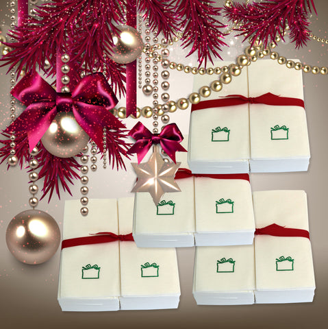 Nature's Linen Disposable Guest Hand Towels Wrapped with a Ribbon 200ct - Christmas / Holiday Collection Embossed with a Gift Box