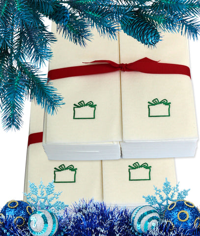 Nature's Linen Disposable Guest Hand Towels Wrapped with a Ribbon 100ct - Christmas / Holiday Collection Embossed with a Gift Box