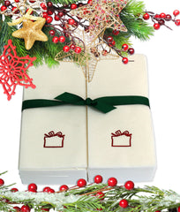 Nature's Linen Disposable Guest Hand Towels Wrapped with a Ribbon 50ct - Christmas / Holiday Collection Embossed with a Gift Box