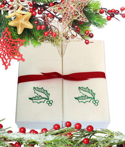 Nature's Linen Disposable Guest Hand Towels Wrapped with a Ribbon 50ct - Christmas / Holiday Collection Embossed with Holly Leaves