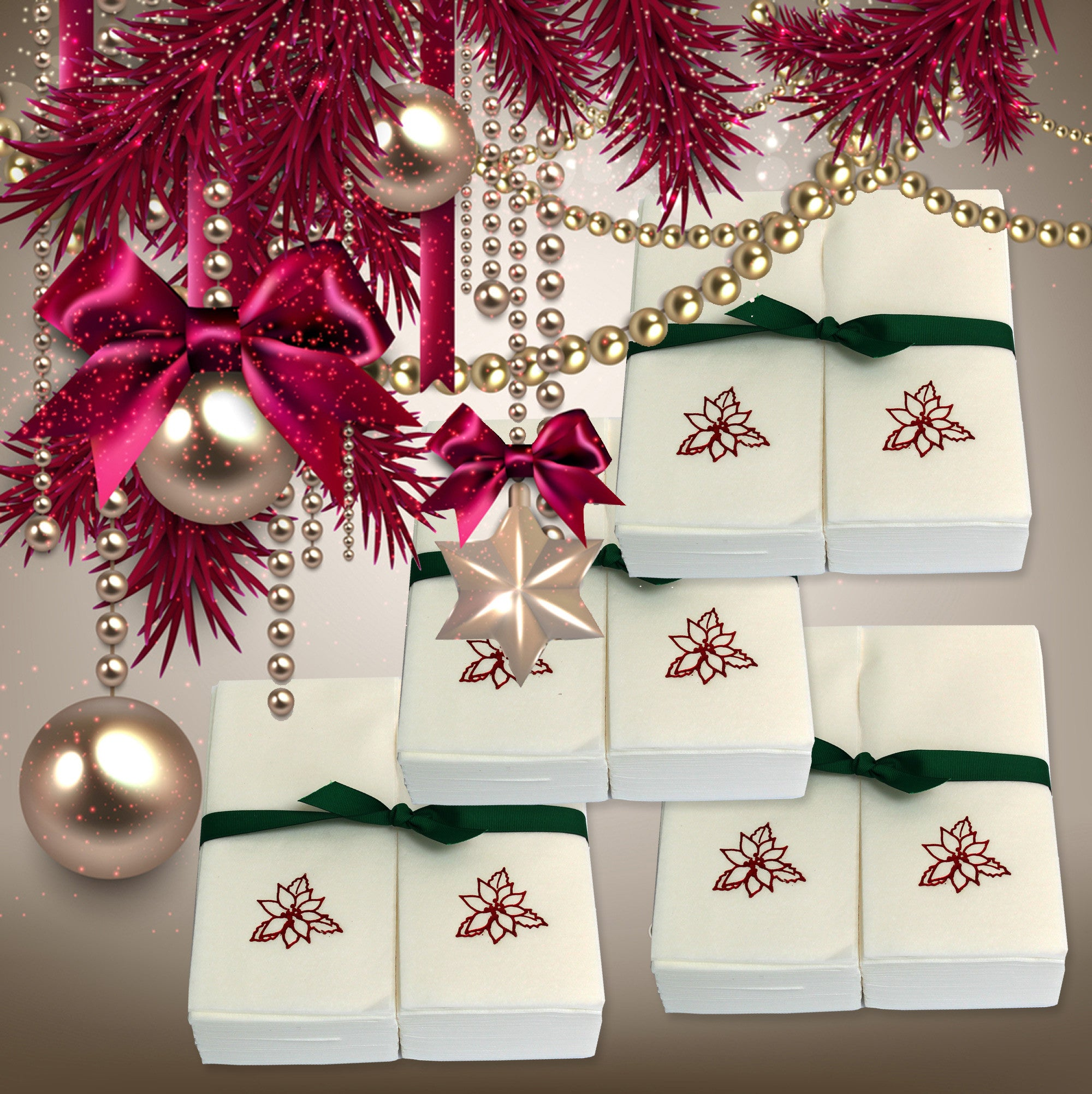 Luxury Christmas Kitchen Towels: Linen Like Disposable Guest Hand Towels Wrapped With A