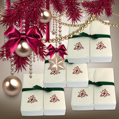 Nature's Linen Disposable Guest Hand Towels Wrapped with a Ribbon 200ct - Christmas / Holiday Collection Embossed with a Poinsettia