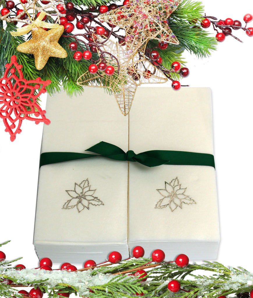 Nature's Linen Disposable Guest Hand Towels Wrapped with a Ribbon 50ct - Christmas / Holiday Collection Embossed with a Poinsettia