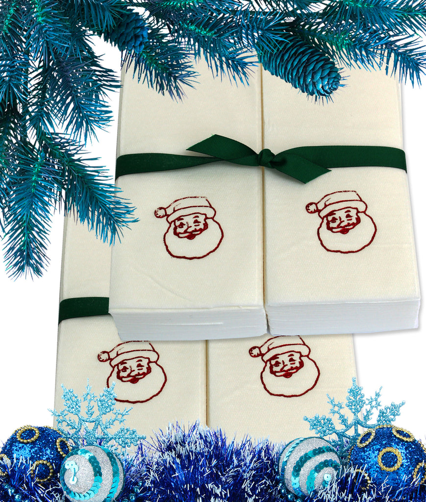 Nature's Linen Disposable Guest Hand Towels Wrapped with a Ribbon 100ct - Christmas / Holiday Collection Embossed with Santa Claus