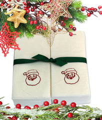 Nature's Linen Disposable Guest Hand Towels Wrapped with a Ribbon 50ct - Christmas / Holiday Collection Embossed with Santa Claus