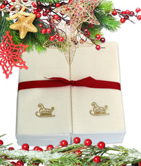 Nature's Linen Disposable Guest Hand Towels Wrapped with a Ribbon 50ct - Christmas / Holiday Collection Embossed with a Sleigh
