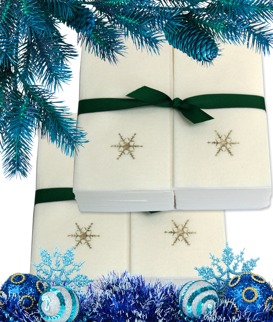 Nature's Linen Disposable Guest Hand Towels Wrapped with a Ribbon 100ct - Christmas / Holiday Collection Embossed with a Snowflake