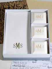 Wedding Gift Ideas, Bridesmaid Gifts, Wedding Favors Wedding Gift Ideas Personalized Scented Square Guest Soap & Hand Towel Set Monogrammed