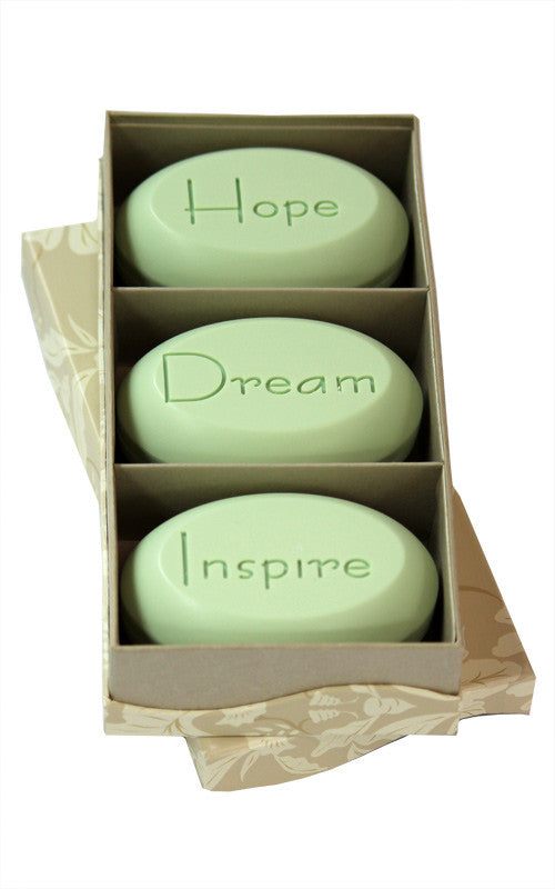 Personalized Scented Soap Bar Engraved with Hope Dream Inspire. Scented Soap Bar - Trio Bar Box