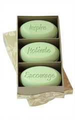 Personalized Scented Soap Bar Engraved with Inspire Motivate Encourage. Scented Soap Bar - Trio Bar Box