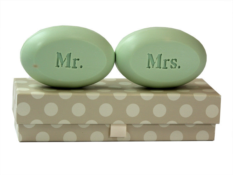 Personalized Scented Soap Bar Engraved with Mr. & Mrs. Scented Soap Bar - Duo Bar Box