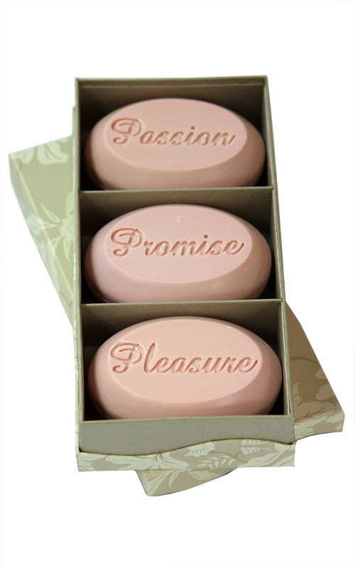 Personalized Scented Soap Bar Engraved with Passion Promise Pleasure. Scented Soap Bar - Trio Bar Box