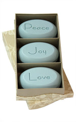 Personalized Scented Soap Bar Engraved with Peace Love Joy. Scented Soap Bar - Trio Bar Box