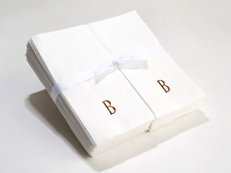 Personalized Linen Like (paper) Disposable Guest Hand Towels - Bulk Pack of 50 with a Ribbon – personalized with a single initial.