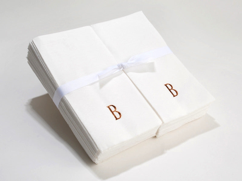 Personalized Linen Like (paper) Disposable Guest Towels - 200 Bulk Paper Disposable Guest Hand Towels with a Ribbon - personalized and etched with a Single Initial
