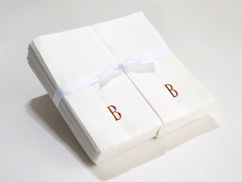Personalized Nature's Linen Disposable Guest Hand Towels Personalized with an Initial 200 Count
