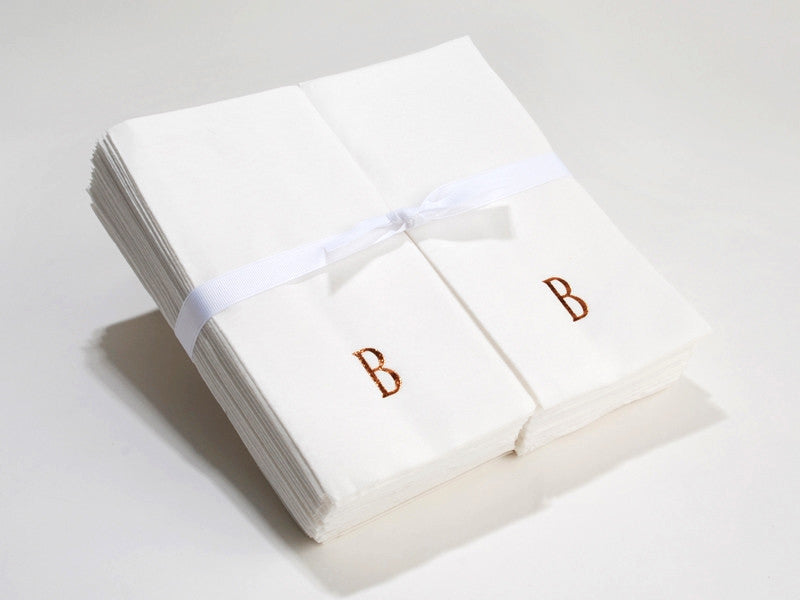 Personalized Linen Like (paper) Disposable Guest Hand Towels with a Ribbon - 100 bulk pack personalized monogrammed