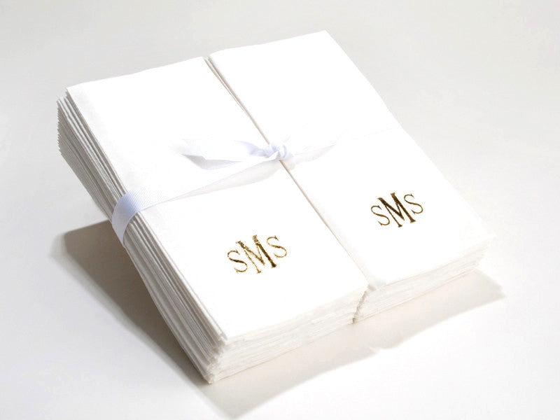 Personalized Linen Like (paper) Disposable Guest Hand Towels - Bulk Pack of 50 with a Ribbon – monogrammed.