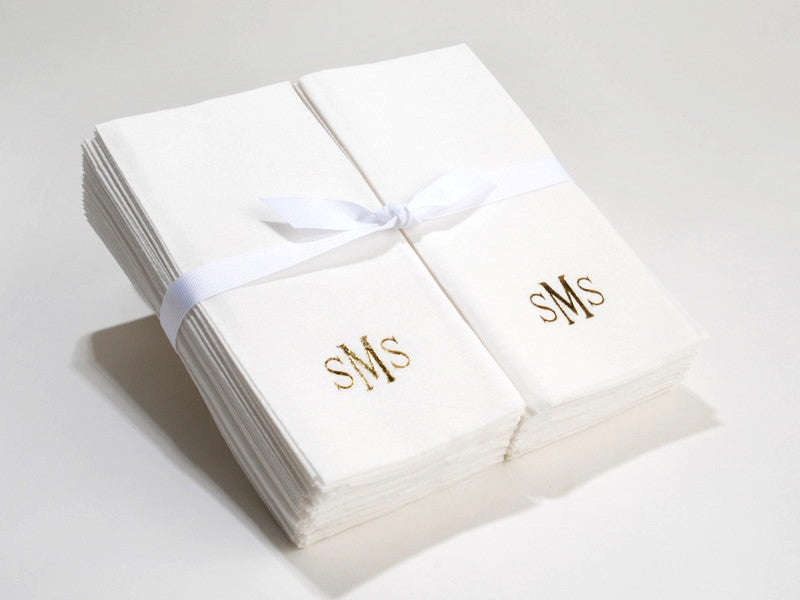 Personalized Linen Like (paper) Disposable Guest Hand Towels - 200 Bulk Disposable Guest Hand Towels with a Ribbon - monogrammed