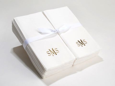 Personalized Nature's Linen Disposable Guest Hand Towels Personalized with a Monogram 200 Count
