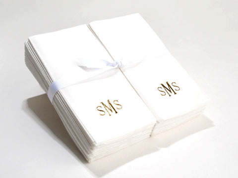 Personalized Nature's Linen Disposable Guest Hand Towels Personalized with a Monogram 50 Count