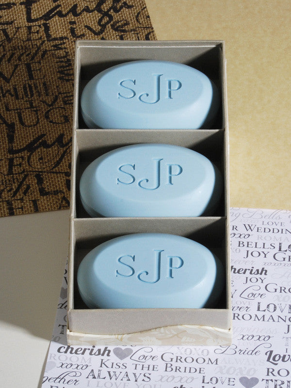Wedding Gift Ideas, Bridesmaid Gifts, Wedding Favors Wedding Gift Ideas Signature Scented Bar Soap Personalized with a Monogram - 3 Bar Box
